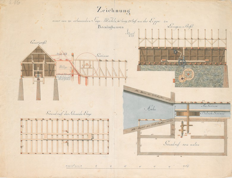 Design for a new sawmill in Beckinghausen an der Lippe (near Lünen), 1819