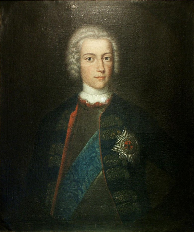 Crown Prince Frederick wears the Prussian black Order of the Eagle combined with the sash of the Polish white Order of the Eagle