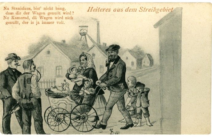 Mocking postcard, Polish miners in Westphalia.