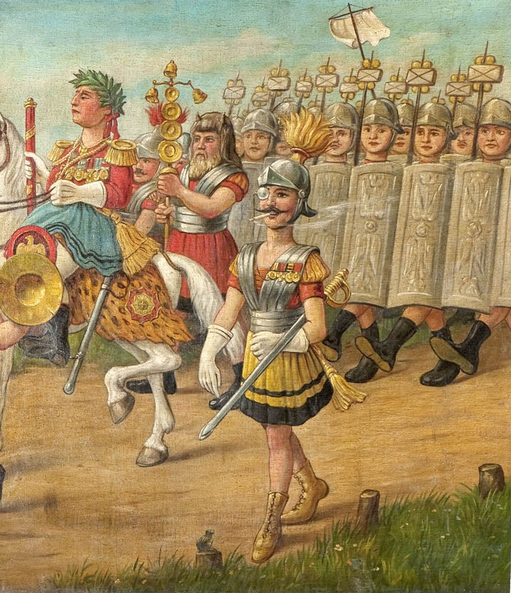 The scroll painting shows a Roman parade near the Teutoburg Forest. Whilst a parade of Roman soldiers led by soldiers making music, a commander on horseback and a further commander approach from the right, armed Germanic tribesmen await them behind a tree in the left of the background. – Both the Romans soldiers and Germanic warriors are caricatured. Contemporaries were able to identify the Prussian military in the form of the Romans. With these caricatures the idolisation of Germanics prevalent at the time were subjected to a mild dose of mockery.