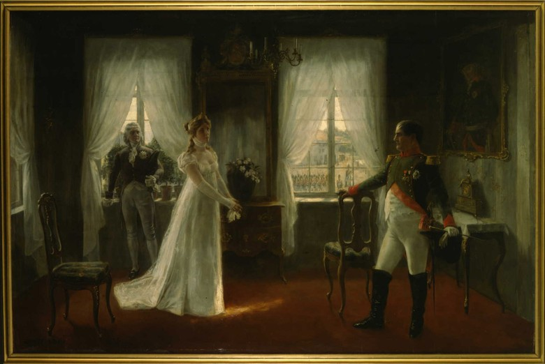 Rudolf Eichstaedt: Queen Luise of Prussia and Emperor Napoleon in Tilsit. Oil on canvas, around 1895