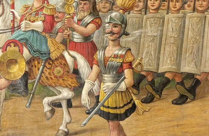 Parade of the Romans (detail), scroll painting for covering the Schönhagen-Genert shooting stand, display cabinet 26, Stadtmuseum Münster
