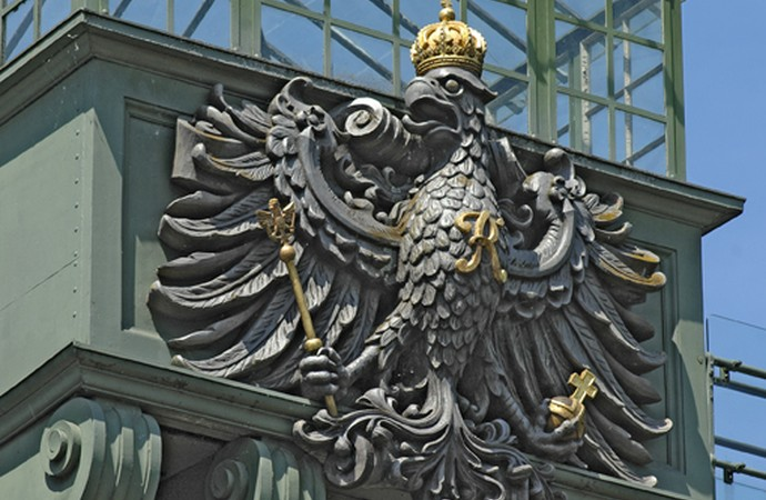 The reconstructed Prussian royal coat of arms on the head of the old Henrichenburg ship elevating works