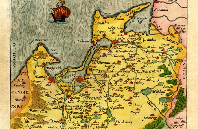"""Prussiae Descriptio"", hand coloured map, Antwerpen 1570"